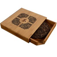 accessories wood carvings - Wooden Pu er tea box bamboo tray healthy food storage box square puerh cake tea package box handmade carvings wood gift box