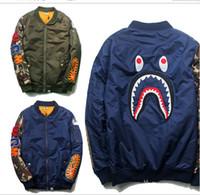 Wholesale Autumn winter fashion brand camouflage shark baseball MA1 jacket men urban clothing coat mens jackets