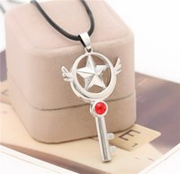 american rope - sailor moon necklace Carton Cardcaptor Sakura Card Captor Star Wand Japanese Anime Cosplay Sliver Key Pendant Chain Necklace Gifts for girls