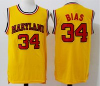 Wholesale Len Bias Diagonal Maryland Terps University College Jersey Embroidery Stitched Jerseys