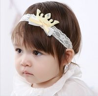 baby king crown - 4 Color Toddler Baby Girl Crystal King Crown Lace Cotton Headband Baby Pretty Headwear New Born Photography Hair Accessories K7559