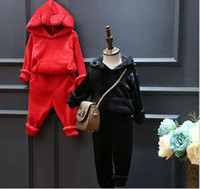 bear ears clothing - 2016 Winter New Children Sets Cute Bear Ears Hooded Velvet Fleece Thick Two Piece Outfits Children Clothing P5066