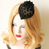 antique hat pins - wedding hair clips Fascinator Wedding hair pin black Flower Hair Accessories Bridal Head Hats For Christmas Wedding Party dress Vintage