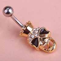 Wholesale New Skull Cool Body Navel Belly Button Piercing Rings White Opal Cat eye stone Beads Fashion Jewelry PC00003