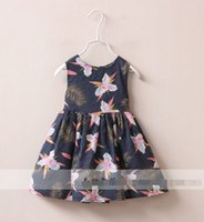 Wholesale Girls Baby Feather flower dress girls Cotton vest dresses Childrens clothing