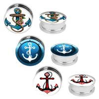 anchor kits - 6pcs ear plugs ear tunnel Screw Fit Anchor Plugs Kit Stainless Steel Plugs mm mm body piercing jewelry