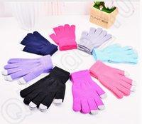 Wholesale Touch Screen Gloves for Smart Phone Tablet Women Men Full Finger Winter Gloves plain knitted gloves OOA584