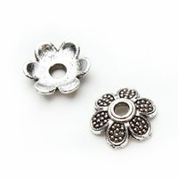 alloy receptacles - 100pcs Antiquesilver Hollow Flower Torus Beads Alloy Receptacle Flower Hat Bead Caps for Jewelry DIY F2920