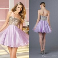 Wholesale 2015 Homecoming Dresses Sparkle clothing short dresses A line Sweetheart Lilac Net Tulle Rhinestone Crystal Backless Mini Party Dresses