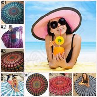 bamboo wall hangings - Round Beach Towel Boho Outdoor Yoga Mat Bikini Cover Up Blanket Hippie Round Mandala Tapestry Wall Hanging styles LJJO432