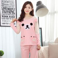 bear pajama - 2016 autumn winter new hot Korean cotton double thick bear long sleeved suit pajamas