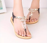 Wholesale 2016 summer styles women sandals female channel rhinestone comfortable flats flip gladiator sandals party wedding shoes Free