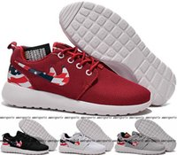 Wholesale 2016 Roshe Run American Flag Shoes Men And Women USA Flag Rosherun Breathable Sneakers London Olympic Roshes Running Shoes Red