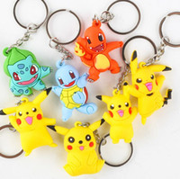 PVC anime rubber - Poke Keychains Cartoon PVC Action Figures Poke Anime Keychain Keyring key rings Pendant Halloween christmas gifts toys