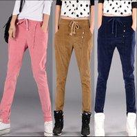 Wholesale Korean Casual Stripe Pants Women - Spring and winter corduroy trousers casual pants female loose harem pants feet pants stripe Trousers Korean tidal