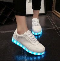 aa ocean - Hot sales fashion USB charging Lighting shoes women s LACE UP flat shoes men casual LED shoes big yards luminous shoes