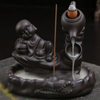 Wholesale Retro Backflow Smoke Cones Incense Burner Buddhist Sandalwood Sticks Censer Ceramic Incense Base Buddhist Home Ornaments Gifts