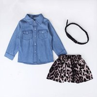 belted shirt - Spring new European and American fashion Baby girls denim shirt leopard skirt belt Sets girl Clothing Sets