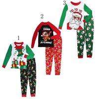 Wholesale Boys girls Christmas Pajamas outfits new children cartoon Santa Claus tops Santa printing Pants set baby Suits C1553