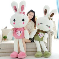 Wholesale Kid s Glush Gifts Rabbit Doll Plush Big Animals White Cute Pillow Embroidery Logo Comfortable Security New