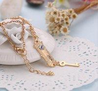 asian door - Alice in Wonderland necklace Key lock charm Pendant Necklaces for women Movie jewelry Christmas door knob and key Necklace LJJK475
