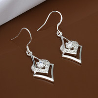 Dangle & Chandelier Silver African Triangle Silver Earrings with Box Women Hanging Pendants White Zircon Setting Female Wedding Jewelry Cheap Wholesale Gift For Girls ER-053