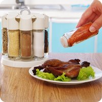 bbq condiment set - Rotary set salt and pepper cruet condiment set bbq seasoning bottle rack condimentos containers for spices cooking tools
