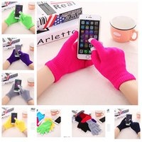Wholesale Touch Screen Gloves For Smart Phone Iphone Ipad Knit Wool Touch Gloves Full Finger Winter Screen Conductive Gloves Touch Knitted Mitten E15