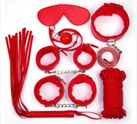 Cheap 7PCS LOT Fetish Sex Products Erotic Toys Adult Slave Games Leather Handcuffs Mask Gag Whip SM BDSM Bondage Sex Toys for Couples