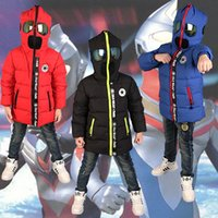 Wholesale Kids Superman Winter Coats - Baby & Kids Clothing Outwear Down Coat boys clothes 2016 winter Fashion Casual Blue Superman Hoodie long sleeve White duck down jacket Coats