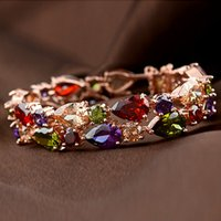 Wholesale Bohemian style wedding jewelry snap beaded bracelets Luxury Bracelet gemstone jewelry charm bracelets Tennis titanium braided for women