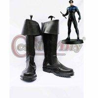 adult superhero shoes - DC Comics Nightwing Black Superhero Cosplay Boots Adult Men Halloween Cosplay Shoes Custom Made