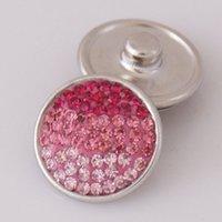 av jewelry - Hot sale KB2402 AV Gradual pink stripe rhinestone MM snap buttons for DIY ginger snap bracelets Accessories charm jewelry