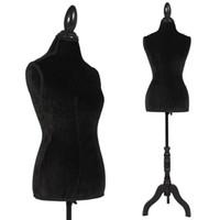 Wholesale Black Female Mannequin Torso Dress Form Display Black Tripod Stand