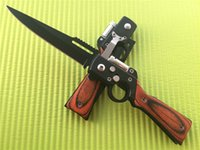 ak guns - AK47 RIFLE Gun Shaped automatic Folding blade knife Pakka Wood Handle Cr13 steel Black finish EDC pocket knives with LED FlashLight AK