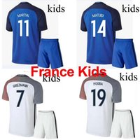 Cheap 16 17 France Jerse National team Kids Soccer Kits 2016 European Cup France Children football set 2017 POGBA GRRIEZMANN MATUIDI Youth uniform