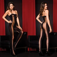 collar bars - 2016 close fitting Condole belt Bodystockings Bud silk vertical bar Sexy silk stockings Low collar Open crotch Sexy Lingerie