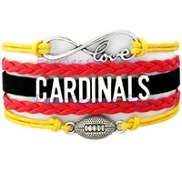 arizona bracelet - Custom Infinity Love Arizona Cardinals Football Charm Bracelet Wrap Braided Leather Adjustable bangles For Football Fans Drop Shipping