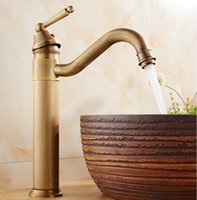 Wholesale and retail deck mounted antique brass bathroom basin faucet vessel sink mixer tap single handle F6030