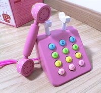 Wholesale Baby Toys Pink Phone Mother Gardon Strawberry Simulation Pink Telephone Furniture Wooden Toys Child Educational Birthday Gift