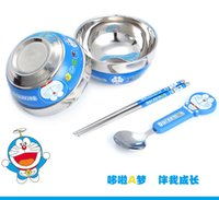 Wholesale Hello Kitty Vigny Doraemon bear tableware set Cartoon children burn proof stainless steel tableware spoon set bowl ZD064C
