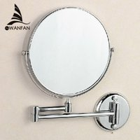 Wholesale 8 quot Dual Makeup mirrors and magnifier Copper Cosmetic Bathroom Double Faced Bath Mirror wall mirror