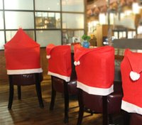 Wholesale Hot Sale Fashion Santa Clause Red Hat Chair Back Cover Christmas Dinner Table Party Decor For Christmas