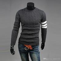 Wholesale Pullover Winter Knitwear For Men Twist Style Casual Men Sweaters Crew Neck Wild Men Slim Sweater Striped Sleeve Men Sweater J161043