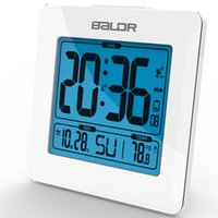 atomic watch - BALDR Atomic Alarm and Snooze Clocks Blue Backlight Calendar Temperature Display Table Alarm LCD Clock Modern Desktop Time Watch