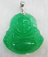 Stand Collar jade - Discount Top Sell Green Jade Smiling Buddha Shape Smile Buddhism Pendant Necklace Free Chain