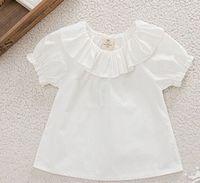 baby doll tees - Baby girls T shirt summer children falbala collar short sleeve T shirt Kids cotton princess doll shirt tops Children white Tees A9619