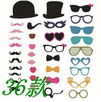 beard pictures - 36PCS SET DIY Creative Photo Booth Props Lip Hat Glass Beard Assort Prop Creative Wedding Pictures Party Supplies