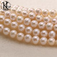 beaded cleaning - 8 mm off round AAA natural high luster freshwater loose pearl strands clean surface for DIY making necklace