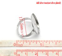 Cheap Fashion Jewelry Rings Free Shipping! Silver Tone Adjustable Round Cabochon Ring Settings 17.5mm US 7 (Fit 20mm), 20PCs (B17337)
